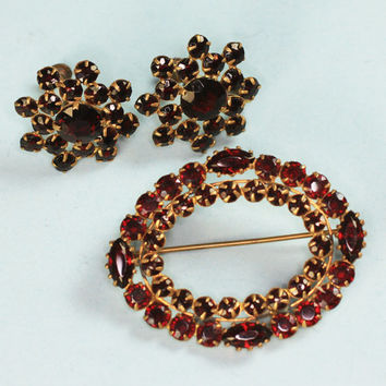 Czech Bohemian Glass Garnet Oval Brooch and Earrings Screw Back Mother's Day Gift