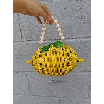 Pearl Handle Wicker Lemon Bag
