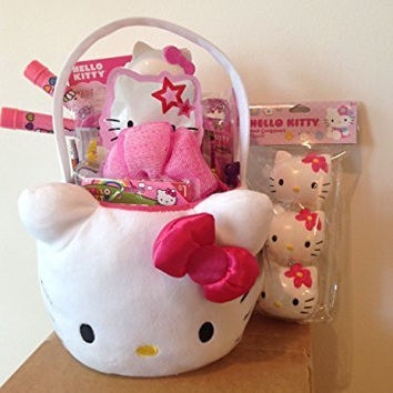Hello Kitty Sanrio Filled Plush Basket of Fun and Little Girl Glamour: Perfect for Easter Basket, Valentine's Day, Birthdays, or Any Other Special Occassions