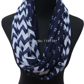 Navy Anchor and Chevron Print Infinity Circle Loop Scarf Women's Accessories, Free Shipping