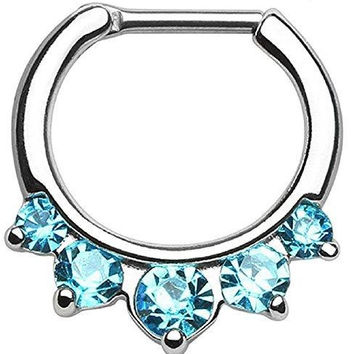 Five Pronged CZs 316L Surgical Steel Septum Clicker Ring 14 gauge [Jewelry]
