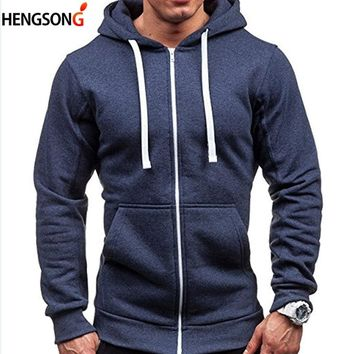 Hengsong Men's Hoodies Tracksuit 2018 Autumn Pocket Drawstring Hooded Sweatshirt Long Sleeve Zip Slim Coat Cardigan 717961