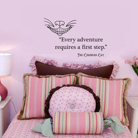 Cheshire Cat Alice in Wonderland Every Adventure Requires a First Step wall quote vinyl wall art decal sticker 14x23