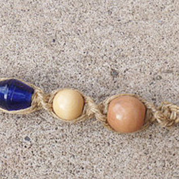 Hemp Keychain Phatty Thick wood Beads  handmade  hippie  Blue