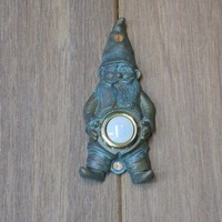Verdigris Garden Gnome Doorbell by modelmaker2 on Etsy