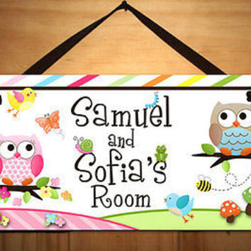 Kids Door Sign Boy Girl Twin Owls Bedroom Nursery Personalized Name Sign DS0136