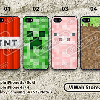 Minecraft iPhone 4 Case,iPhone 4s Case, Minecraft Creeper Hard Case or Rubber Case cover skin case for iphone 4/4g/4s case