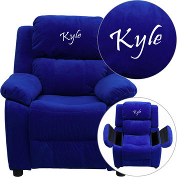 Flash Furniture Personalized Deluxe Heavily Padded Blue Microfiber Kids Recliner with Storage Arms