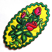 Iron On Patch Applique - Oval Flower Patch