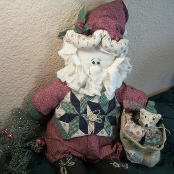 "Santa Claus Decorative 14""  Doll House of Lloyd Vintage Collectible Country Christmas Decoration Fabric Soft Sculpture"