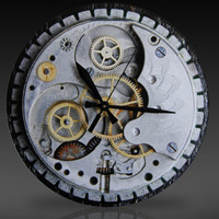 Laser-Cut Acrylic SteamPunk Watch and Gear Collage Wall Clock