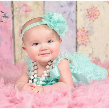 Large Light Aqua Dots Tutu Flower Headband