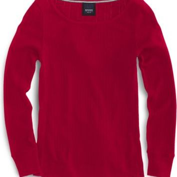 Sperry Top-Sider Pointelle Knit Long Sleeve Top Red, Size S  Women's