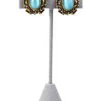 60's__Sarah Coventry__Teal Clip-on Earrings