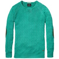 High Twist Crew Neck Pull With Elbow Patches - Scotch & Soda