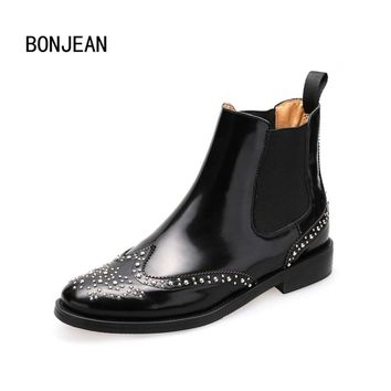 Women Shoes Patent Genuine Leather Woman Ankle Boots Chelsea Boots Brogue Shoes 3 Style Ladies Rivets Boots for Women Plus Size