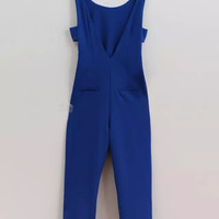 Women's Fashion Sexy Hollow Out Backless One-piece Chiffon Pants Jumpsuit [4917820164]