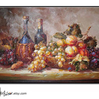 "36"" Textured Wine&Fruits Painting, Original Still Life Oil Painting, Paint and Sign by Jim."