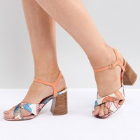 River Island Wide Fit Cross Front Heeled Sandals at asos.com
