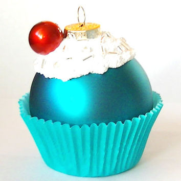 Christmas Cupcake Ornament -Matte Turquoise Ornament Medium -Xmas Tree Fake Food Teal Candy Treats Decoration Peacock Party Holiday Gift