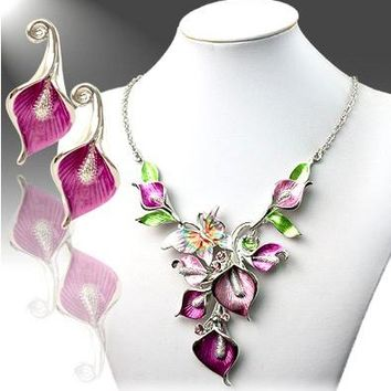 Multi-Color Calla Lily & Butterfly Necklace & Earring Set