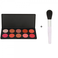 10 Color Cosmetic Makeup Shining Blush Powder Palette + Natual Wool Studio Makeup Loose Powder Blush Brush Black