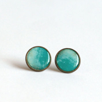 Ombre mint green stud earrings haind painted ombre earring studs
