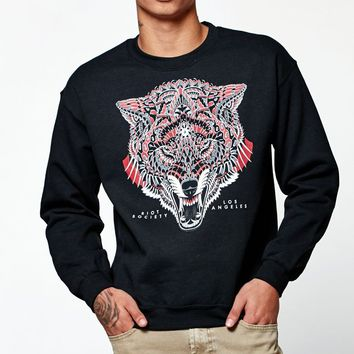 Riot Society Ornate Wolf Crew Neck Sweatshirt - Mens Hoodie - Black
