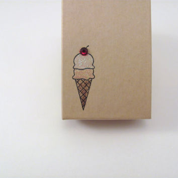 Stamped Box Ice Cream Cone Treat Jewelry or Gift Box Kraft Jewelry Box