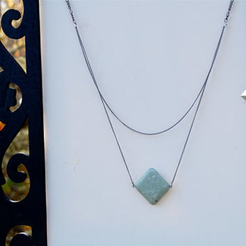Lightly Stoned Turquoise Necklace with Layered Chain and Geometric Back Charm