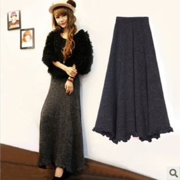 2013 autumn and winter slim hip fish tail ruffle yarn skirt fashion vintage knitted half-length full dress expansion bottom