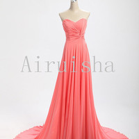 Elegant simple  A-line chiffon formal dress