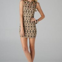 Taupe Fitted Dress with Diamond Print & Cutout Neckline