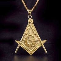 Square & Compass G Motif Necklace [Gold & Silver]