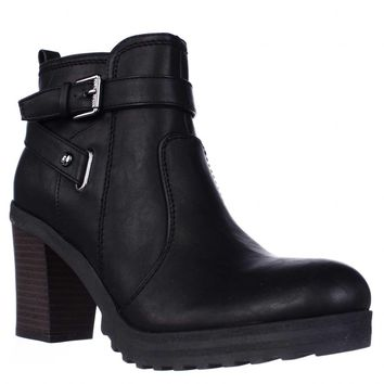 G by GUESS Francy Lug Sole Ankle Boots, Black, 8.5 US