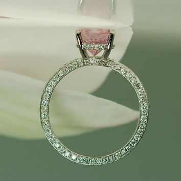 Platinum engagement ring peach sapphire oval 2.79ct blush ice peach champagne sapphire, full eternity