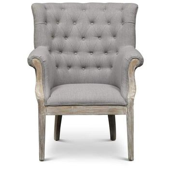 Fabric Upholstered Wooden Accent Chair With Button Tufted Back, Gray and Brown
