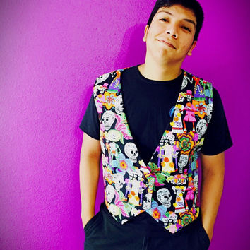 Day of the dead vest for men / men rave wear / men clothing
