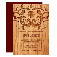 Bridal Shower Invitation - Vintage Sepia Wood