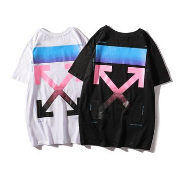 19 new autumn and winter OFF WHITE gradient arrow print off tide brand 19SS white cotton short-sleeved T-shirt men and women models