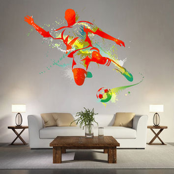 kcik119 Full Color Wall decal soccer football ball sport spray paint room Bedroom sports hall