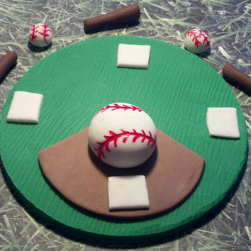 Batter Up! Fondant Cake Topper. Set includes one 6 inch Cake Topper, 3 bats & 4 mini Baseballs to top your Cake.