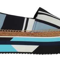 Dolce & Gabbana Blue White Wool Espadrilles Loafers