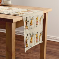 African Tribal Hunters Graphic Pattern Short Table Runner