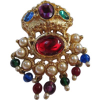 Gorgeous KJL Kenneth Jay Lane Gilded Mogul Jewels Cabochons fx Pearl Dangles Statement Brooch/Pin