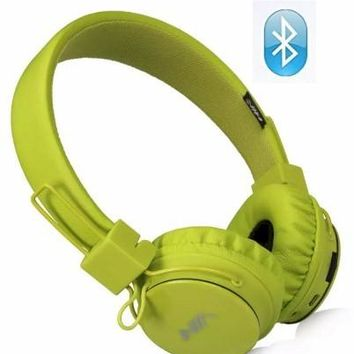 Wireless Bluetooth Headphones, Kids Headphones, Over Ear Foldable, TF card play, FM radio, Audio Input with Microphone for Iphone Android and Good Choices for Gift, On Ear Green