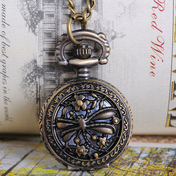 Bronze Vintage Dragon Fly Pocket Watch