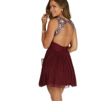 Penelope- Burgundy Homecoming Dress