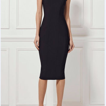 Becky Chic Cold Shoulder Midi Bandage Dress