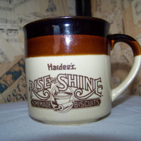 Vintage Hardee's Coffee Mug--1989 Coffee Cup--Rise and Shine Homemade Biscuits--Southern Collectible--Beige Brown Ombre'--Kitchenware